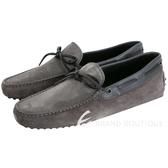 TOD'S Gommino 撞色拼接綁帶豆豆休閒鞋(深灰色/男鞋) 1630341-11