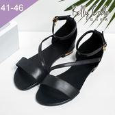 大尺碼女鞋-凱莉密碼-時尚性感線條真皮羅馬平底涼鞋2cm(41-46)【YG303-21】黑色