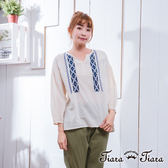 【Tiara Tiara】激安 民俗風直紋純棉七分袖上衣(米/黃)