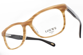 LOEWE 光學眼鏡 VLW826 0ANC (淺咖啡-棕) 率性拼色膠框款 # 金橘眼鏡