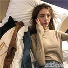 撲啦啦韓風秋冬半高領修身長袖針織衫女純色套頭打底上衣女裝毛衫