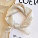 絲巾女小方巾春秋薄款桑蠶絲真絲護頸圍巾裝飾米色韓國小領巾發帶一米