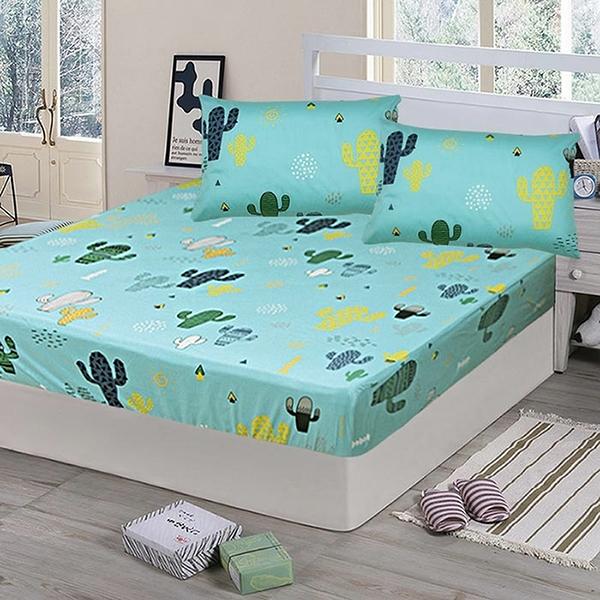 【Victoria】純棉單人床包+枕套二件組-仙人掌(綠)_TRP多利寶