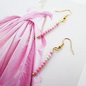 【粉紅堂 飾品】 深淺配色珠珠耳環 *珊瑚粉紅 / 漾彩石綠*