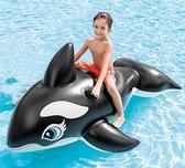 超大游泳圈充氣坐騎大鯊魚水上玩具成人大人海豚黑鯨魚沖浪 【全館免運】