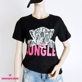 【SHOWCASE】夏日個性圓領老虎印花短袖T恤(黑)
