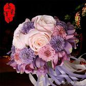 婚慶韓式新娘手捧花仿真玫瑰高檔婚禮婚紗照道具結婚手拋花球 晴天時尚館