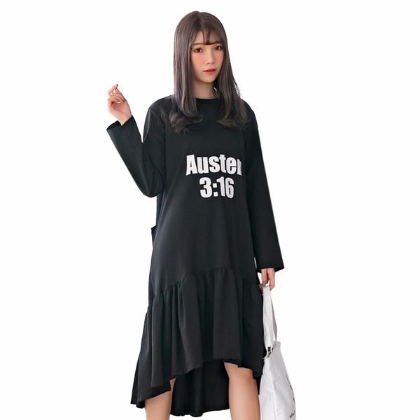 運動--休閒性感露背百褶裙寬鬆修身假兩件長袖長版連衣裙(黑.藍L-3L)-A384眼圈熊中大尺碼◎