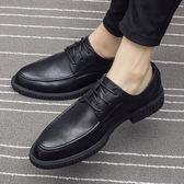 夏季商務休閒皮鞋男韓版潮流英倫尖頭黑色真皮發型師增高男士鞋子 【PINKQ】