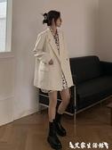 西裝外套 白色小西裝外套女2021年新款春秋韓版英倫風設計感小眾西服上衣 艾家