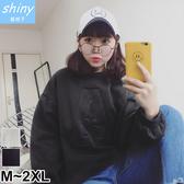 【V9675】shiny藍格子-原作本色‧寬鬆刺繡A字母刷毛長袖上衣