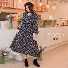 東京著衣【YOCO】氣質女伶交叉V領氣質碎花洋裝-S.M.L(172883)