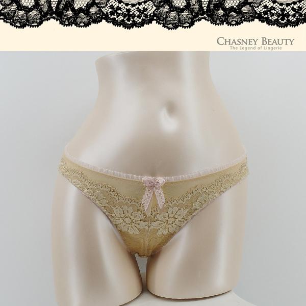 Chasney Beauty-隱形豹紋S-XL蕾絲三角褲(金肤)