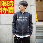 立領外套 太空棉-時尚休閒字母印花男夾克外套65ac49【巴黎精品】