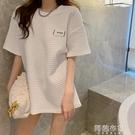 中大尺碼短袖 白色格子t恤女短袖內搭女潮百搭夏季新款洋氣寬鬆中長款上衣 阿薩布魯