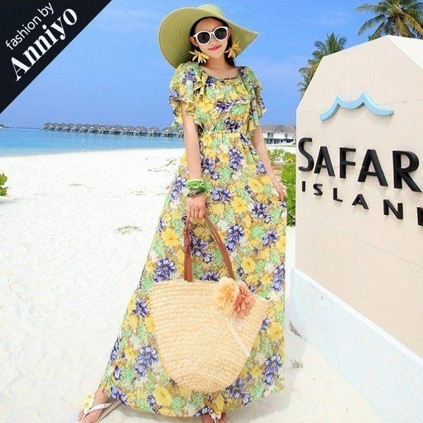 Anniyo安妞‧波西米亞印花雪紡無袖荷葉邊連衣裙海邊度假長裙沙灘裙長洋裝˙黃藍花
