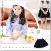 中大童 純棉 浪漫蕾絲花邊棉麻褲裙 2色 有安全褲 優雅 花朵 刺繡 氣質 日系 韓版 童裝