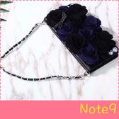 【萌萌噠】三星 Galaxy Note9  韓國立體黑玫瑰保護套 帶掛鍊側翻皮套 插卡 手機殼 手機套