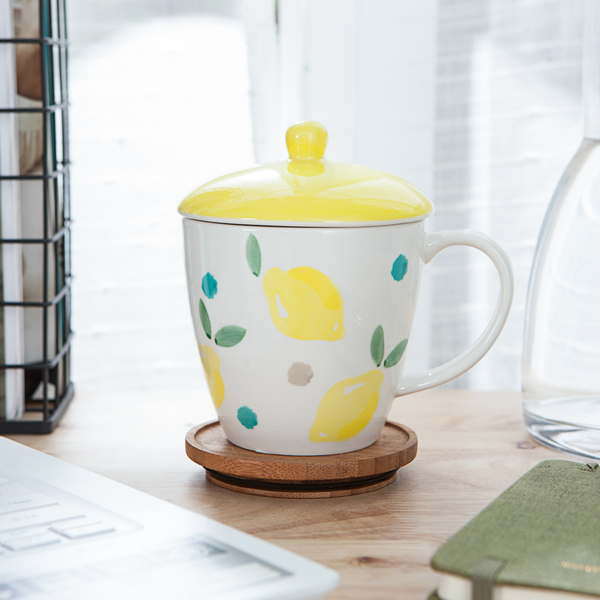 【店長超值推薦6折起】酸甜滋味附蓋馬克杯350ml-檸檬-生活工場