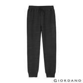【GIORDANO】男裝G-MOTION系列搖粒絨抽繩鬆緊休閒束口褲-20 雪花仿段彩黑