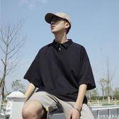 夏季新款港風寬鬆短袖POLO衫男士翻領T恤青少年純色休閒上衣 科炫數位旗艦店