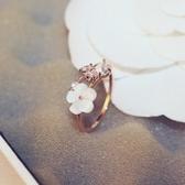 戒指 玫瑰金純銀 鑲鑽-花朵氣質生日情人節禮物女飾品73by30【時尚巴黎】