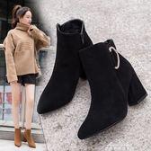 馬丁靴 粗跟短靴女新款百搭尖頭鞋黑色側拉鏈單靴裸靴拼色高跟馬丁靴 早秋低價促銷