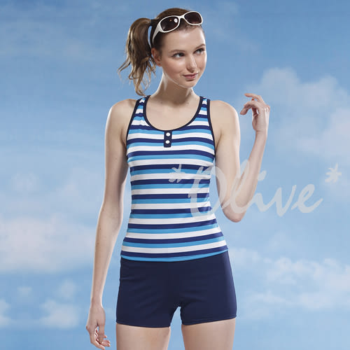 ☆小薇的店☆泳之美品牌【清新亮眼條紋】時尚二件式泳裝特價690元 NO.8320(S-XL)