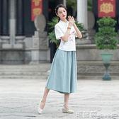 褲裙 復古純色棉麻鬆緊腰七分褲女夏季民族風女裝寬鬆闊腿褲 瑪麗蘇