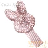 Cutie Bella亮鑽小兔全包布手工髮夾-Sparkle Bunny-Pinky