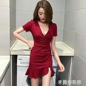 夜店洋裝 夏裝新款女主播夜店性感低胸V領短袖高腰緊身開叉包臀連衣裙 快速出貨