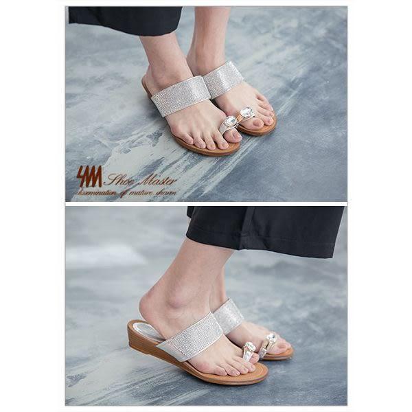 ★2017SS★SM-晶鑽系列-寶石指環細鑽低跟楔型拖鞋-銀色