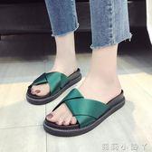 一字拖拖鞋女外穿夏季新款一字平底松糕拖百搭韓版學生時尚沙灘鞋潮 蘿莉小腳丫