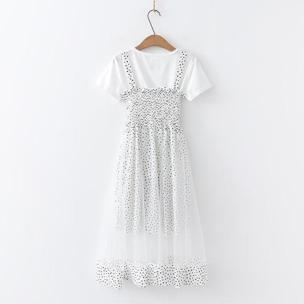 2019夏季高中女生波點雪紡很仙的連身裙12-15歲學生大童女裝17潮