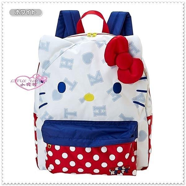 ♥小花花日本精品♥ Hello Kitty 白色貓臉紅點點大頭臉桃蝴蝶結背包/後背包/手提袋