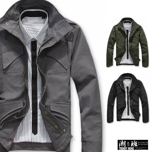 『潮段班』【HJ000080】買一送一 俐落修身剪裁韓國版型經典款軍裝外套