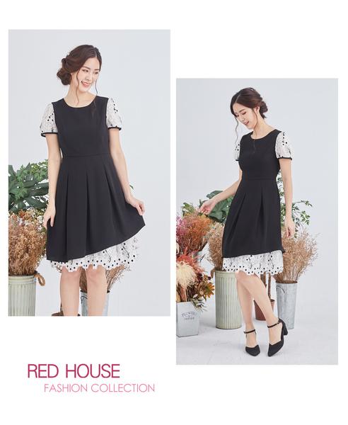 【RED HOUSE 蕾赫斯】素面花朵蕾絲洋裝(黑色)