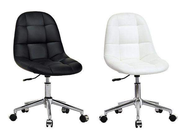 【森可家居】小而巧白色造型轉椅 7JX286-4 電腦椅 辦公椅