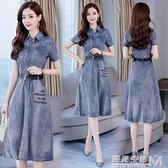 夏季新款韓版牛仔裙潮字母chic短袖顯瘦中長款薄牛仔洋裝女