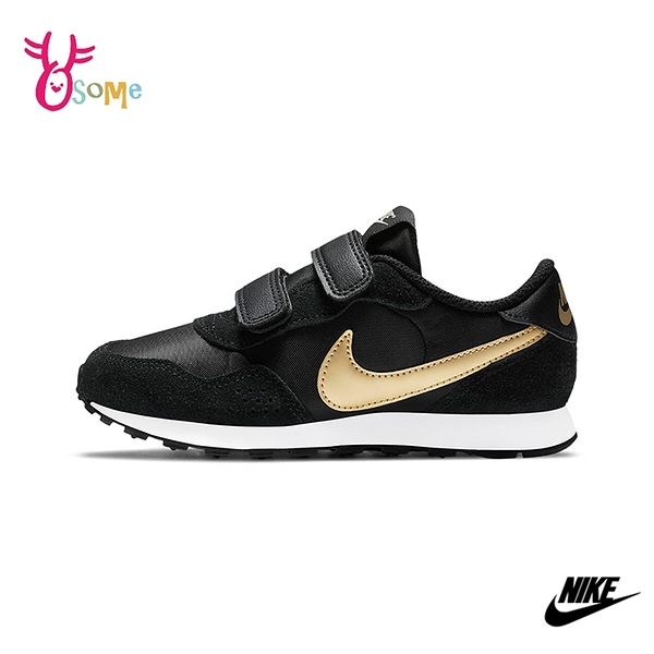 NIKE童鞋 男女童運動鞋 MD VALIANT 慢跑鞋 跑步鞋 魔鬼氈運動鞋 Q7073#黑金◆OSOME奧森鞋業