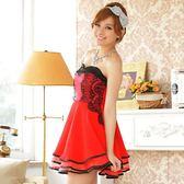 曼妙華爾滋蕾絲滾邊下襬抹胸小禮服*紅色3XL現貨出清不退(送隱形肩帶)[9501-JK]美之札