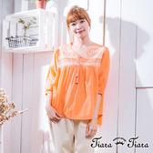 【Tiara Tiara】激安 民俗風圖案綁帶七分袖上衣(藍/橘)