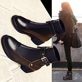 馬丁靴子女春秋英倫風女鞋百搭秋季薄款女靴粗跟瘦瘦短靴-Milano米蘭