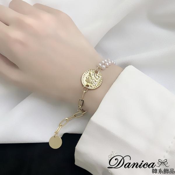 現貨 韓國少女氣質簡約百搭金屬感錢幣人頭珍珠不對稱手鍊 S3168 批發價 Danica 韓系飾品 韓國連線