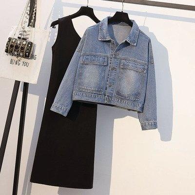 韓版外套短款開衫中大尺碼L-4XL新款大碼女裝胖mm休閒顯瘦牛仔外套4F093-5002.胖胖唯依