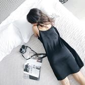 吊帶睡裙 寬鬆睡衣女夏緞面家居服大碼吊帶睡裙冰絲無袖性感可外穿中裙黑色 享購
