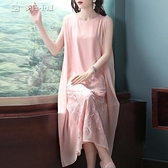 休閒洋裝民族風連身裙重工刺繡女21夏裝新款無袖寬鬆復古超仙的背心裙 快速出貨