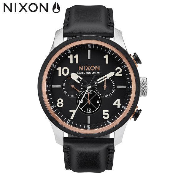 NIXON手錶 稍息立正我愛你 以綸配戴款 原廠總代理A1082-2051 THESafari Dual Time Leather 皮錶帶 男女 禮物