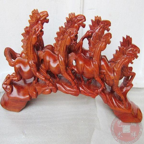 紅木雕刻八馬奔騰商務禮品馬到成功藝術品