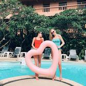 120CM愛心游泳圈水上充氣玩具心形腋下圈加厚救生圈成人浮排浮床igo     蜜拉貝爾